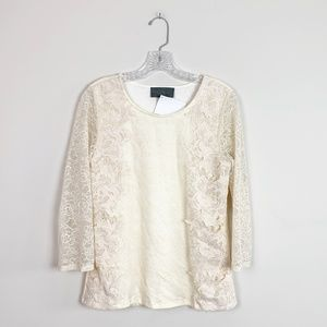 Anthropologie | lace 3/4 sleeve blouse off white M